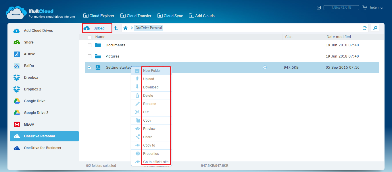 Manage OneDrive | MultCloud | Desktop screenshot, Turn off