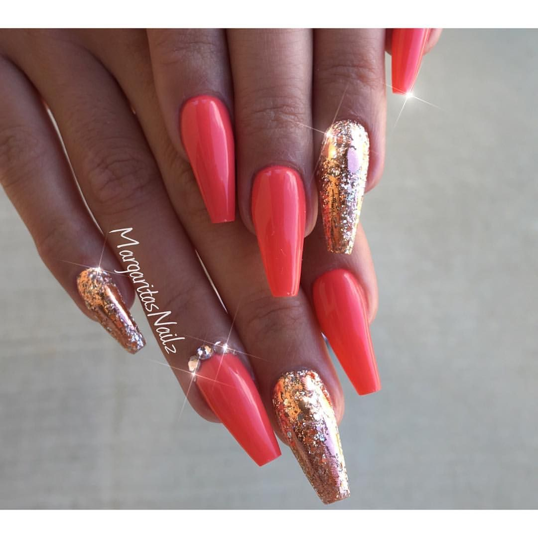 coral and rose gold nail art fashion coffin nails glitter design