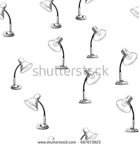 Seamless Vector Pattern With Hand Drawn Retro Table Lamp Black Sketch On White Background Vector Pattern How To Draw Hands Seamless Background