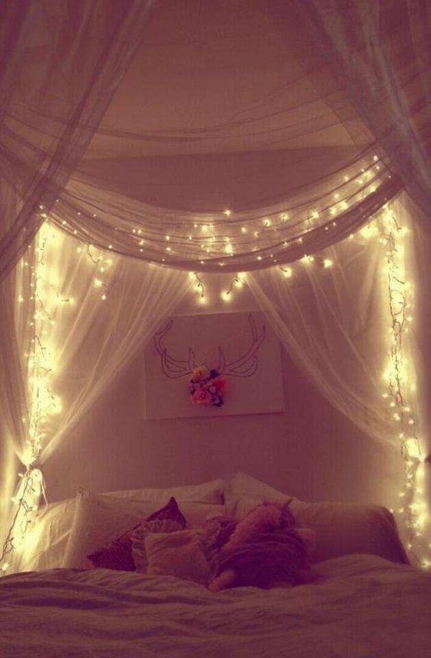 Interiordesign Lichterkette Himmelbett Tumblr Rooms