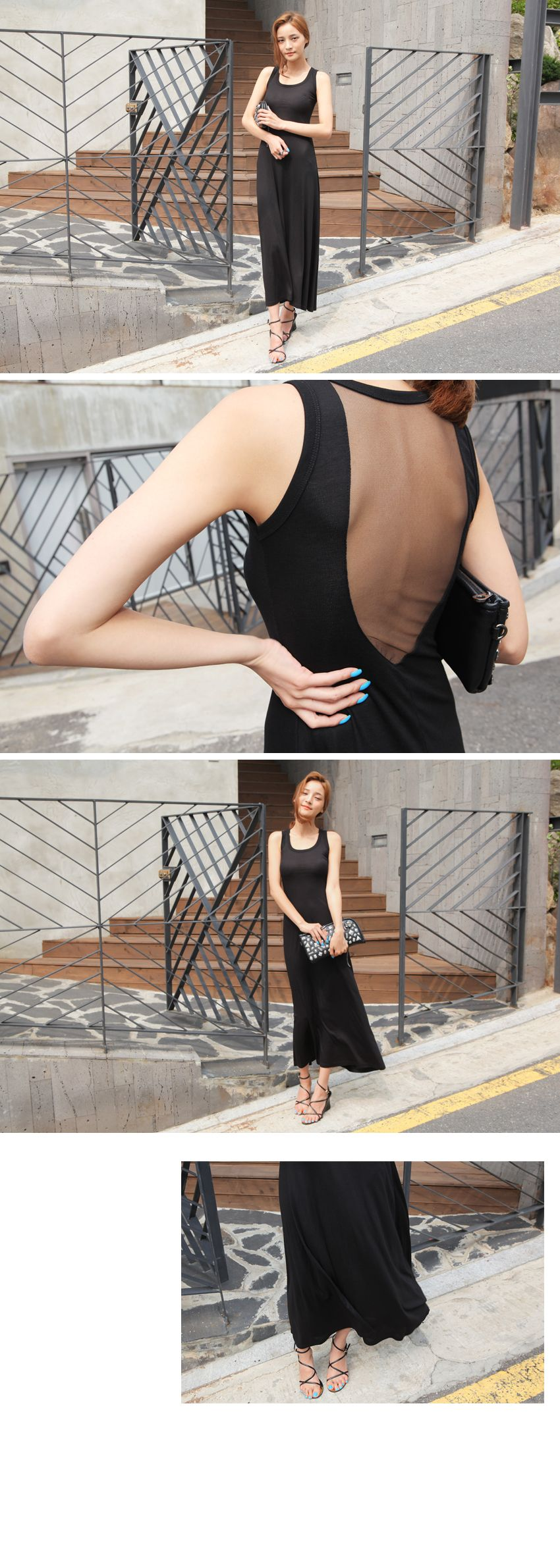 Sheer back chic long dress fashionshopstylenanda korean