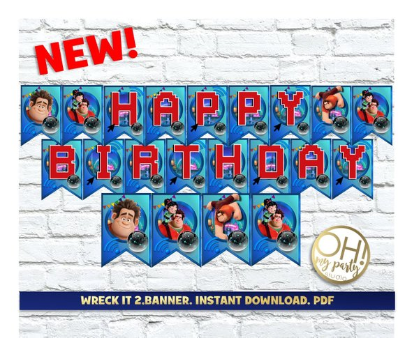 WRECK IT RALPH 2 banner,wreck it ralph 2 birthday,wreck it ralph 2 party,wreck it ralph 2,wreck it,ralph wrecks the internet birthday party #wreckitralph