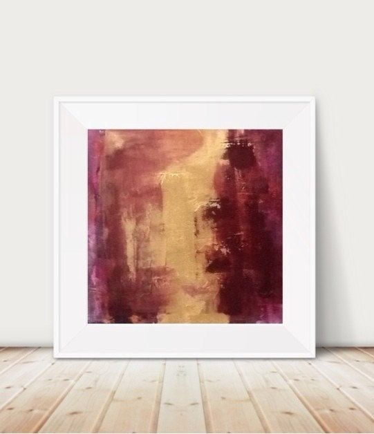 Red Wine Painting Large Wall Art Gold Decor And