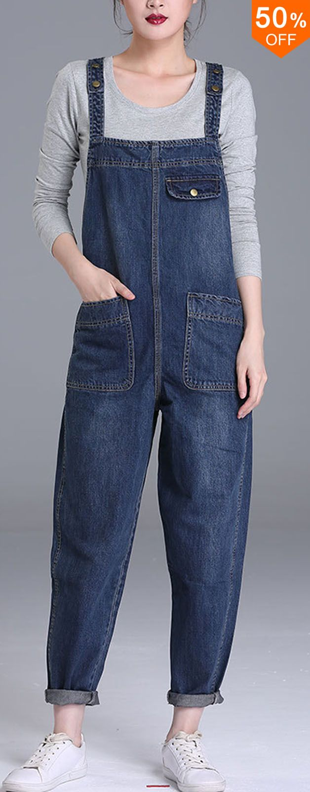 50%OFF&Free shipping. S-6XL Casual Women Denim Pockets Playsuits 2