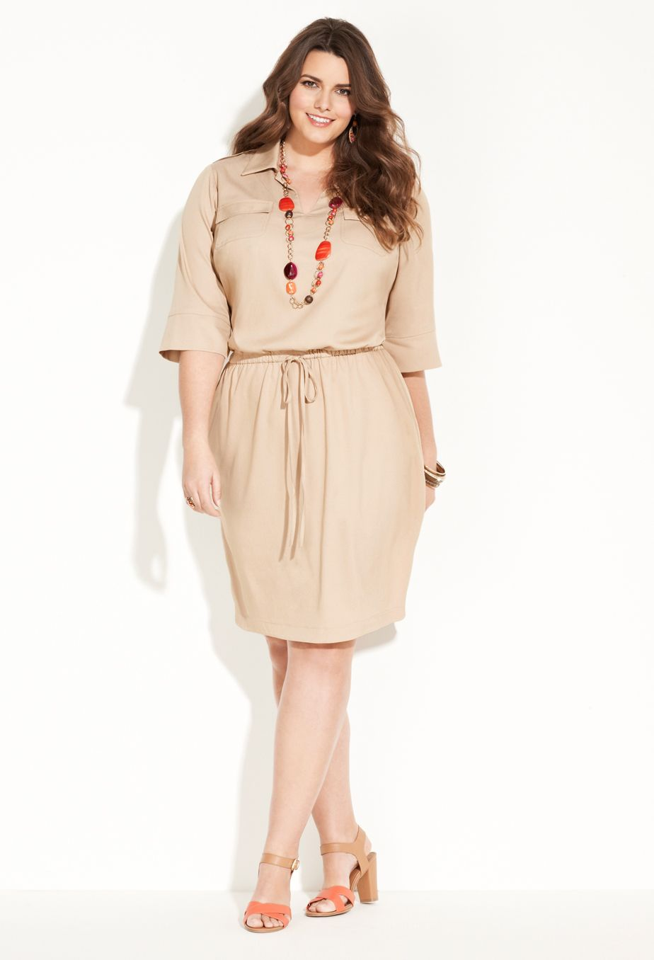plus size drawstring shirt dress | plus size work dresses | avenue