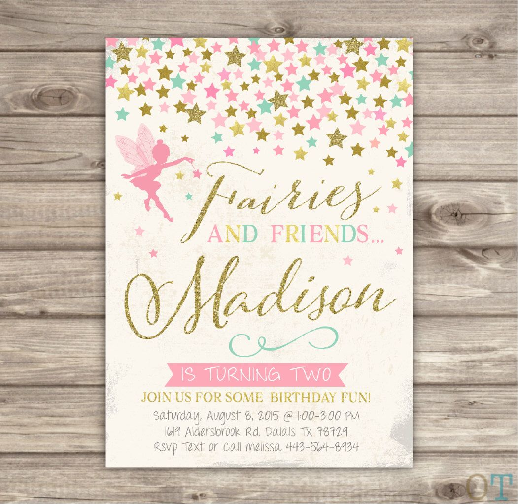 Fairy Birthday Invitations Vintage Pink and Gold Glitter Party ...
