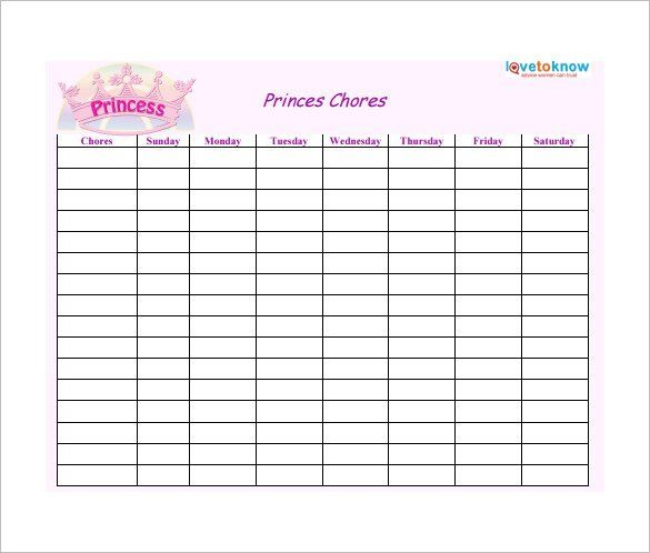 Weekly Chore Chart for Prince Free Template , How to Make Good - project contact list template