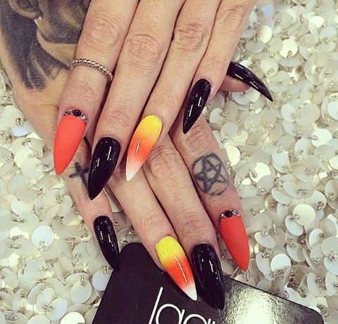 Black Matte Orange Candy Corn Witch Nails Candy Corn Nails Halloween Nail Designs