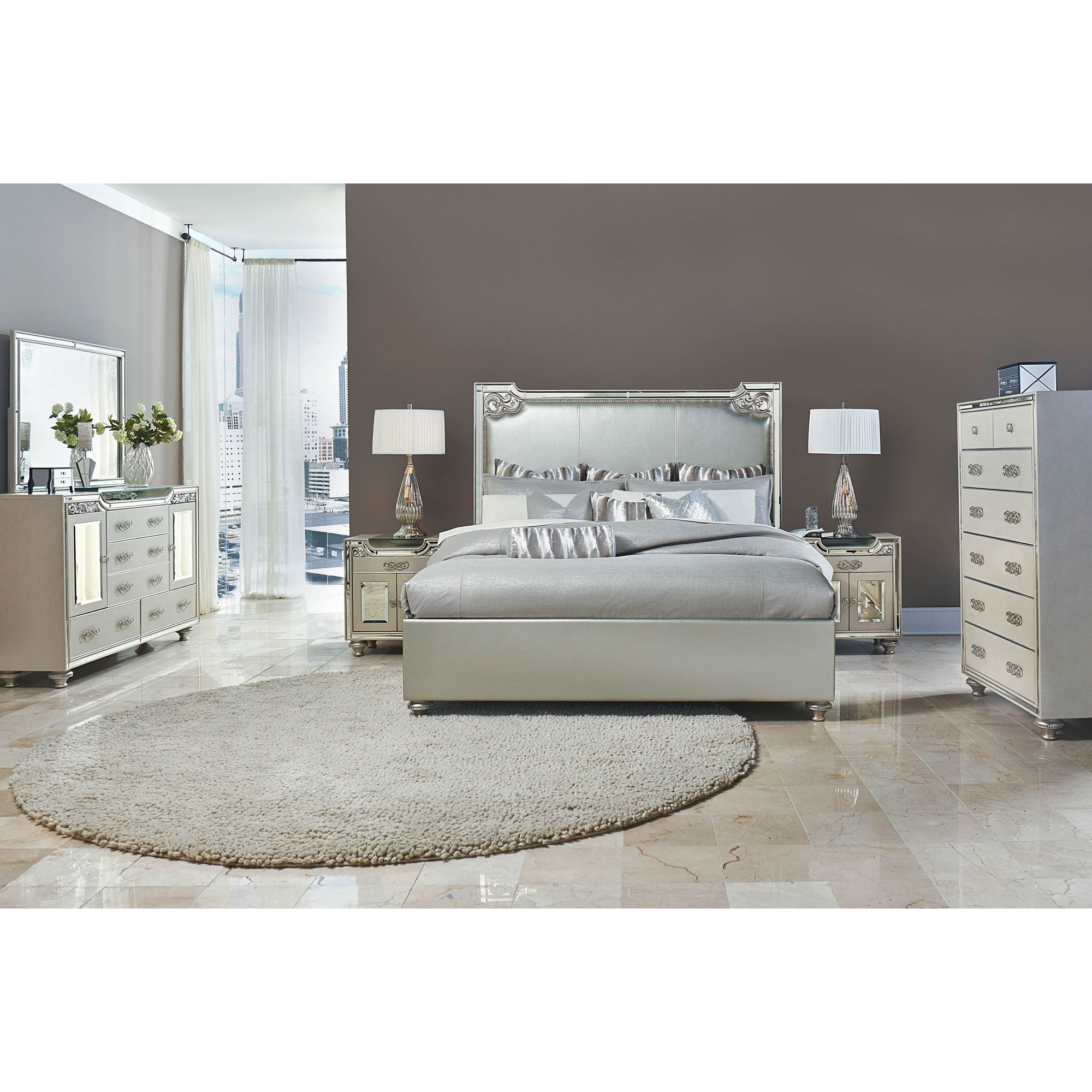 Bel Air Park Glam Leather Bedroom Set By AICO