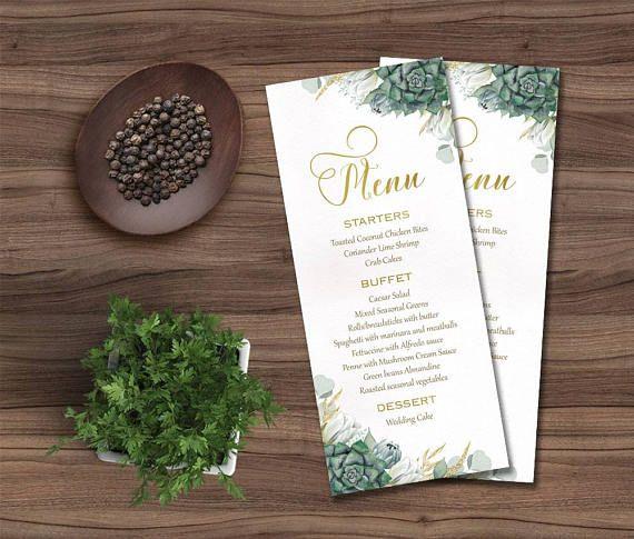 Wedding Menu Printable Floral Card Succulent Green