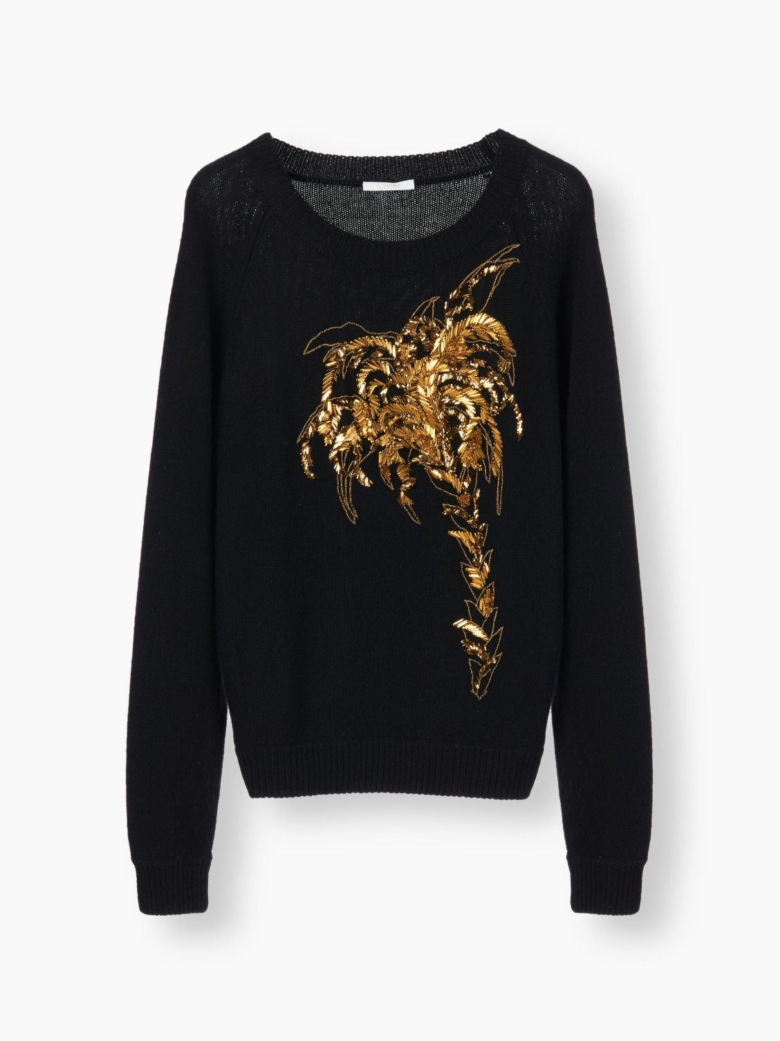 Wool & cashmere sweater with gold palm tree embroidery from our ...