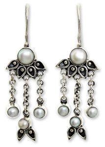 Novica Pearl chandelier earrings, Moonlight Lotus