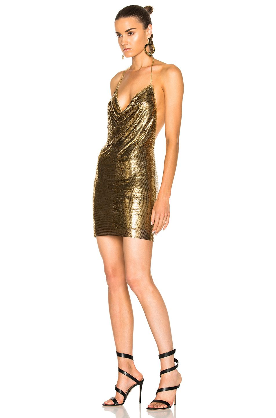 Metallic Black Halter Dress
