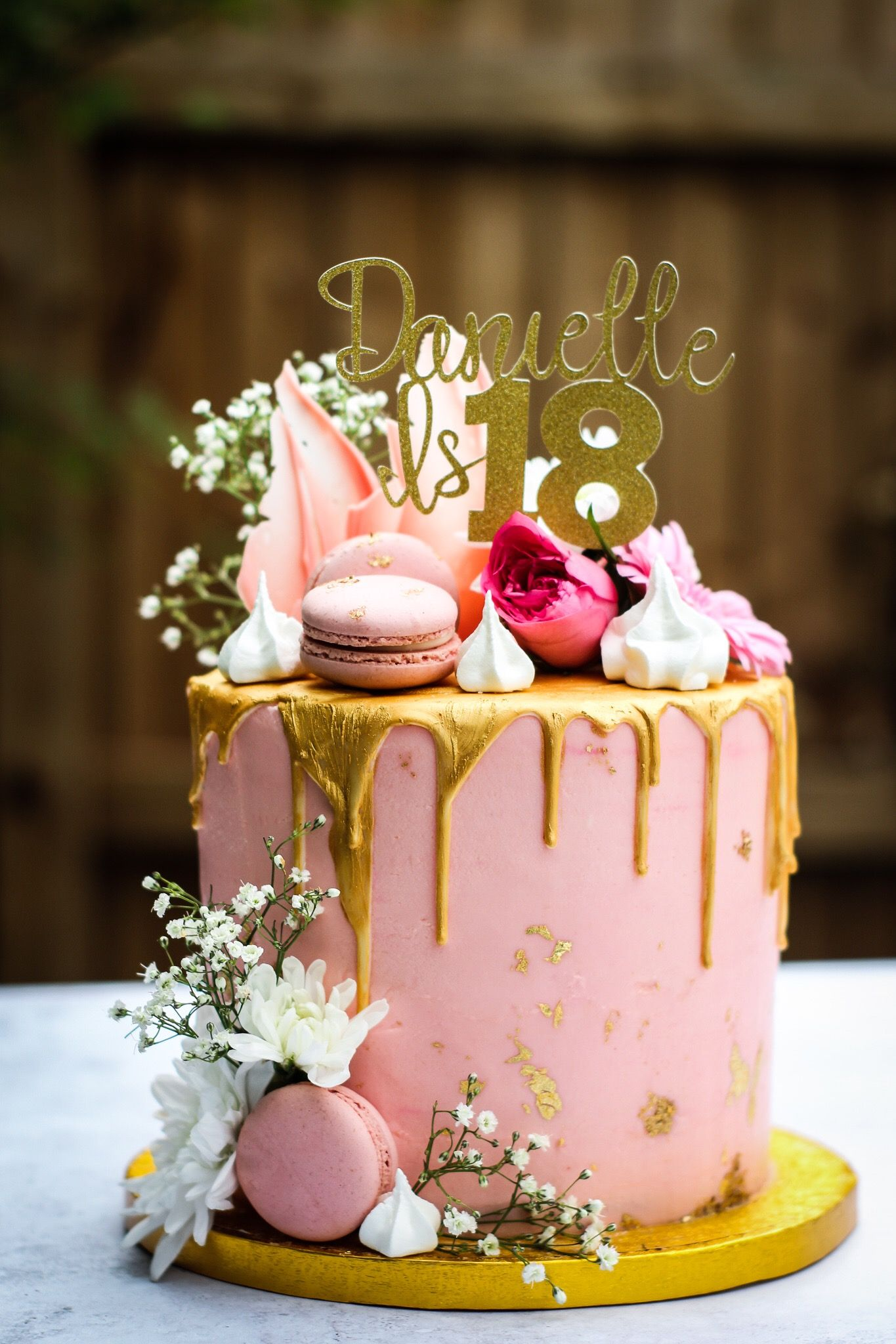 Stunning Pink Buttercream Vanilla Cake With A White Chocolate Gold