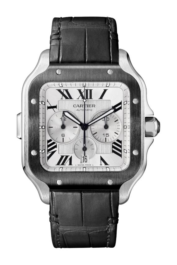 101495dbb50e Cartier Santos de Cartier Chronograph in steel and black DLC on alligator  strap #cartier #cartierwatches #chronograph #watchtime #watchnerd