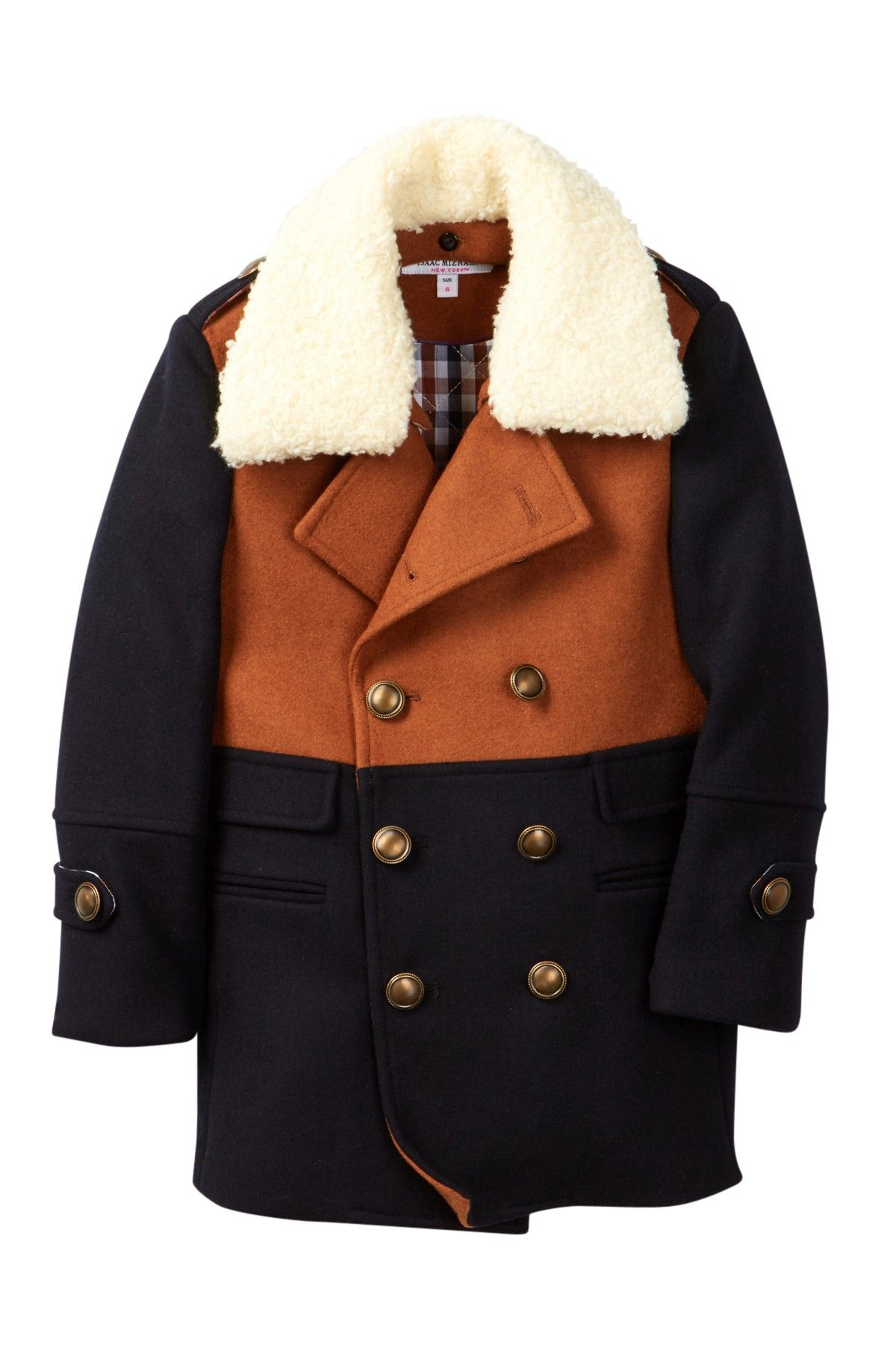 Isaac mizrahi colorblock doublebreasted faux shearling