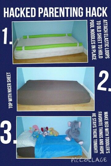 Parenting hack double hacked Pool noodle toddler bed hack