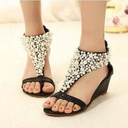 Gorgeous Black PU Upper Wedge Heels Women Sandals $34.99