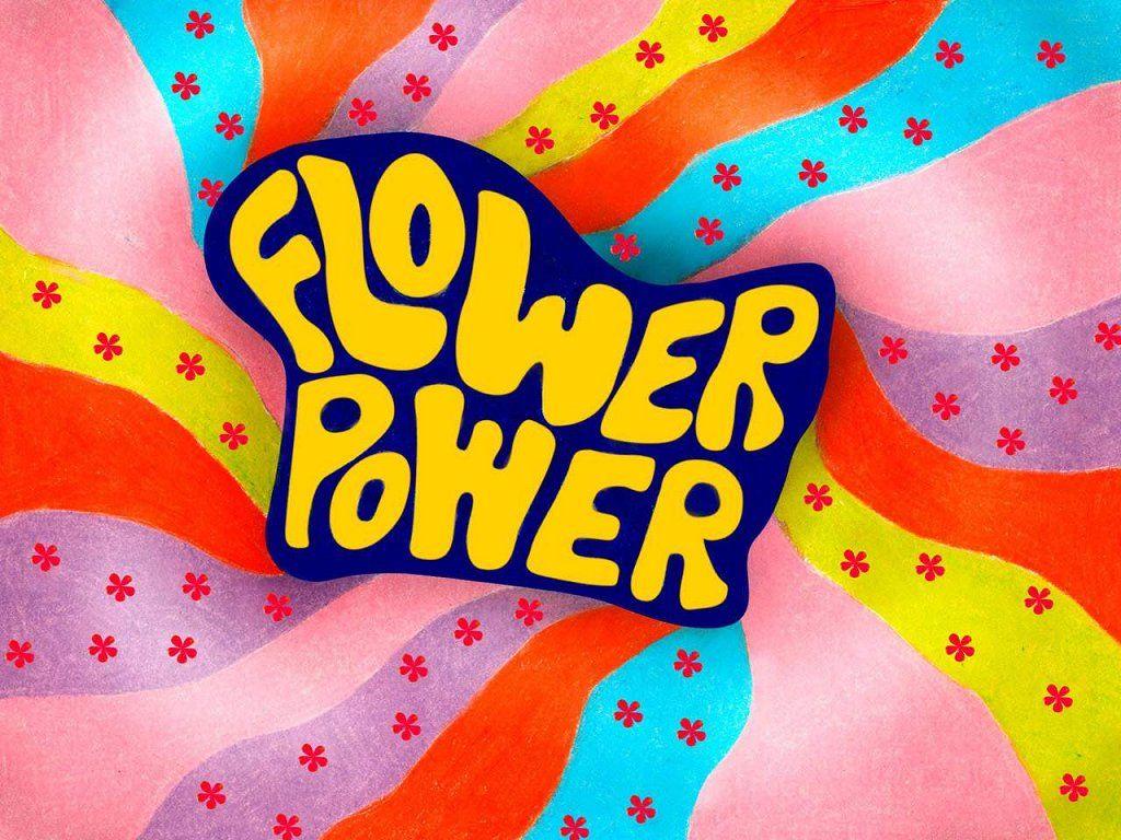 Love flower power daisy graffiti print cotton fabric 60s 70s retro - 70s Pop Bands The 70 S Boundary Sound