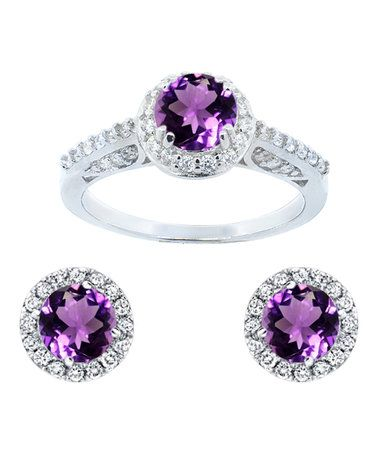 Another great find on #zulily! Amethyst & Cubic Zirconia Round Halo Stud Earrings & Ring #zulilyfinds