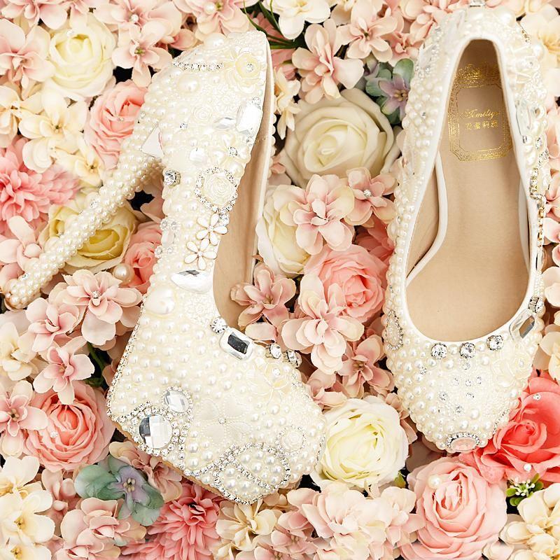 The Wedding Shoes Custom Bridal Shoes White Pearl Bridal Shoes