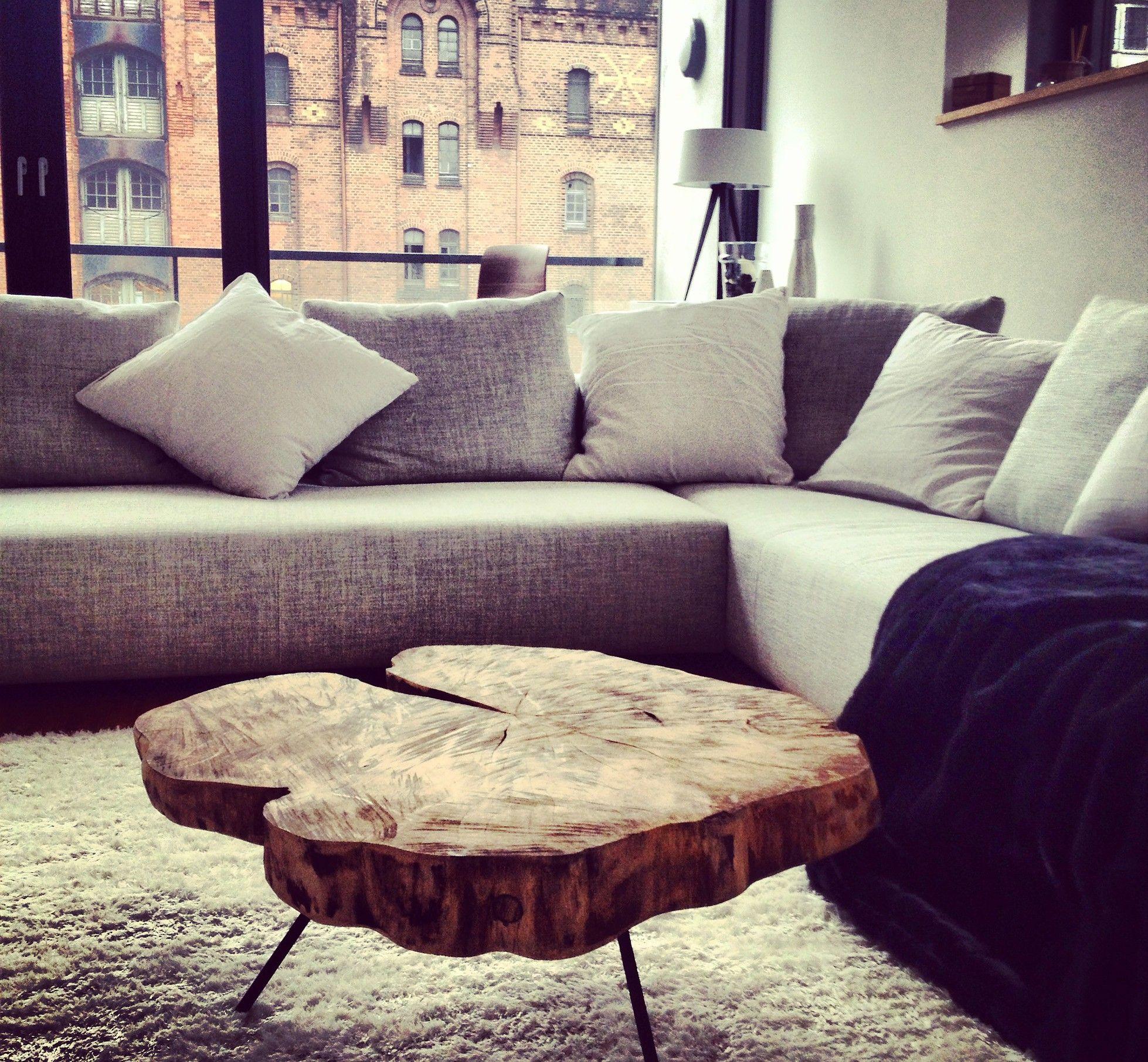 Couchtisch holz rustikal  Couchtisch Holztisch massiv auf Maß, Baumscheibentisch ...