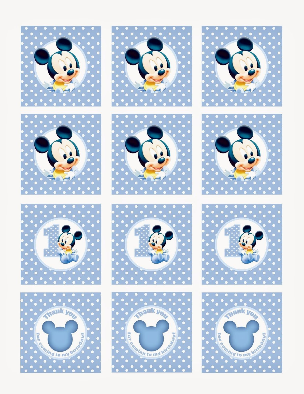 Mickey Mouse Cupcake Toppers Free Imagenes De Mickey Bebe