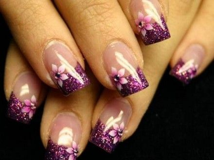 30 trendy purple nail art designs you have to see manicure stylish purple flower french manicure mightylinksfo