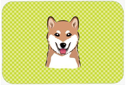 Checkerboard Lime Green Shiba Inu Mouse Pad, Hot Pad or Trivet BB1287MP