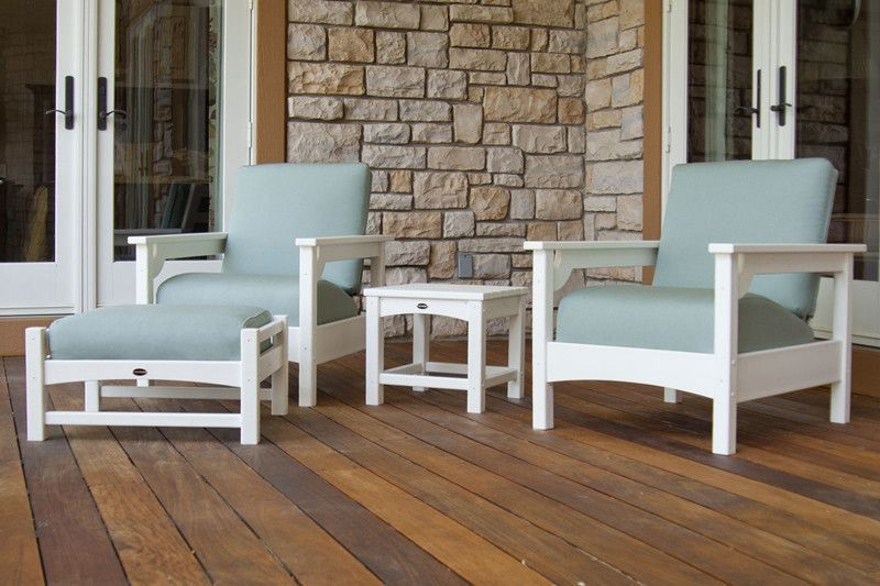 Polywood PWS147-1-WH5413 Club 4-Piece Deep Seating Set in White / Spa