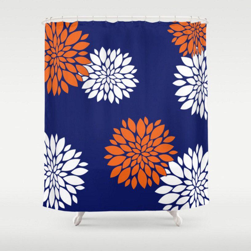Blue Shower Curtain Large Shower Curtain Blue Orange Bath