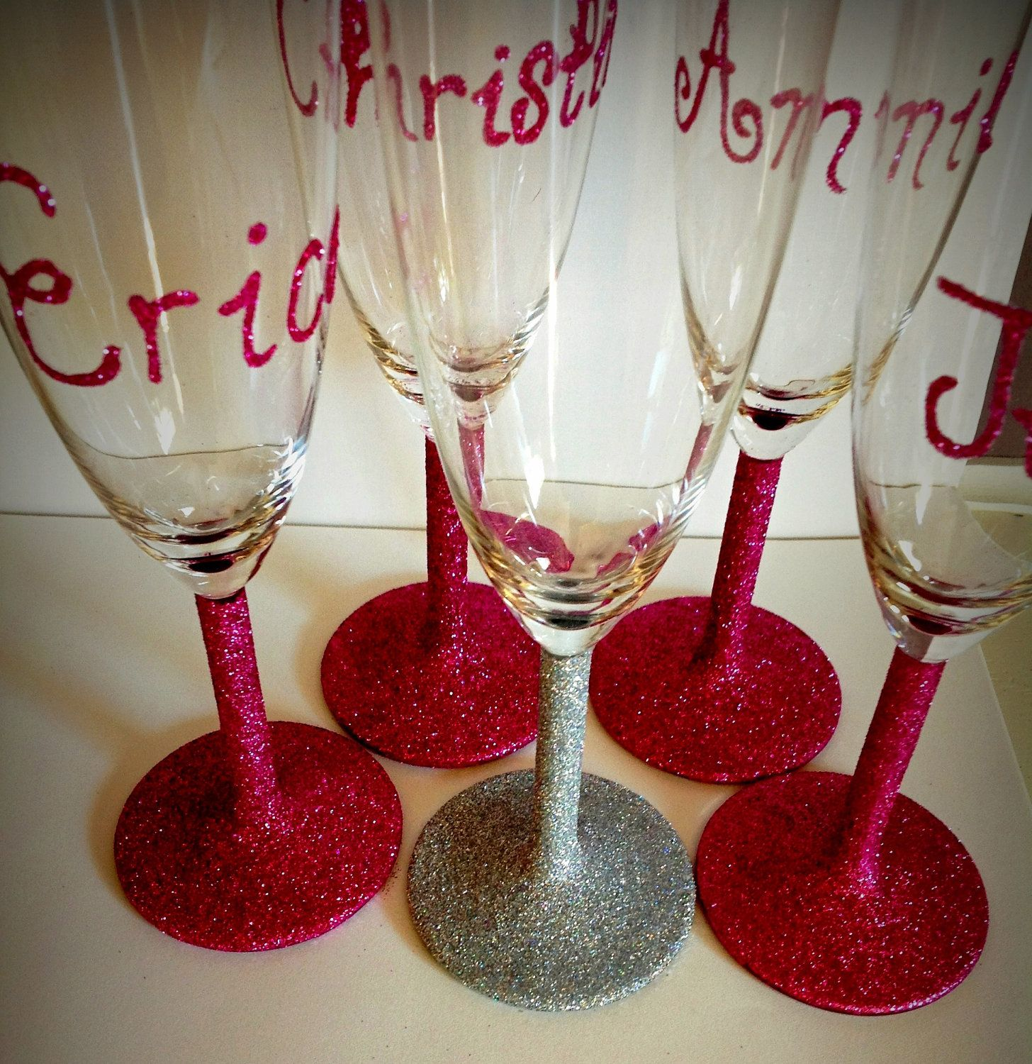 Glittter Champagne Glasses Glitter Champagne Hand Painted Glasses Champagne Lovers