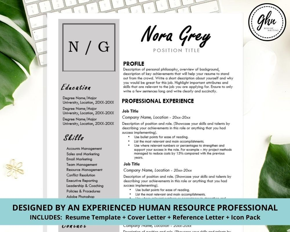 Resume Template Instant Download Professional Resume Cover