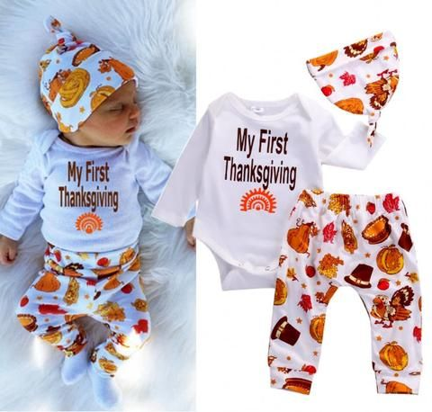 22d5b16095c2 2016 Thanksgiving Newbonr Infant Baby Boys Girls Clothes Long Sleeve ...