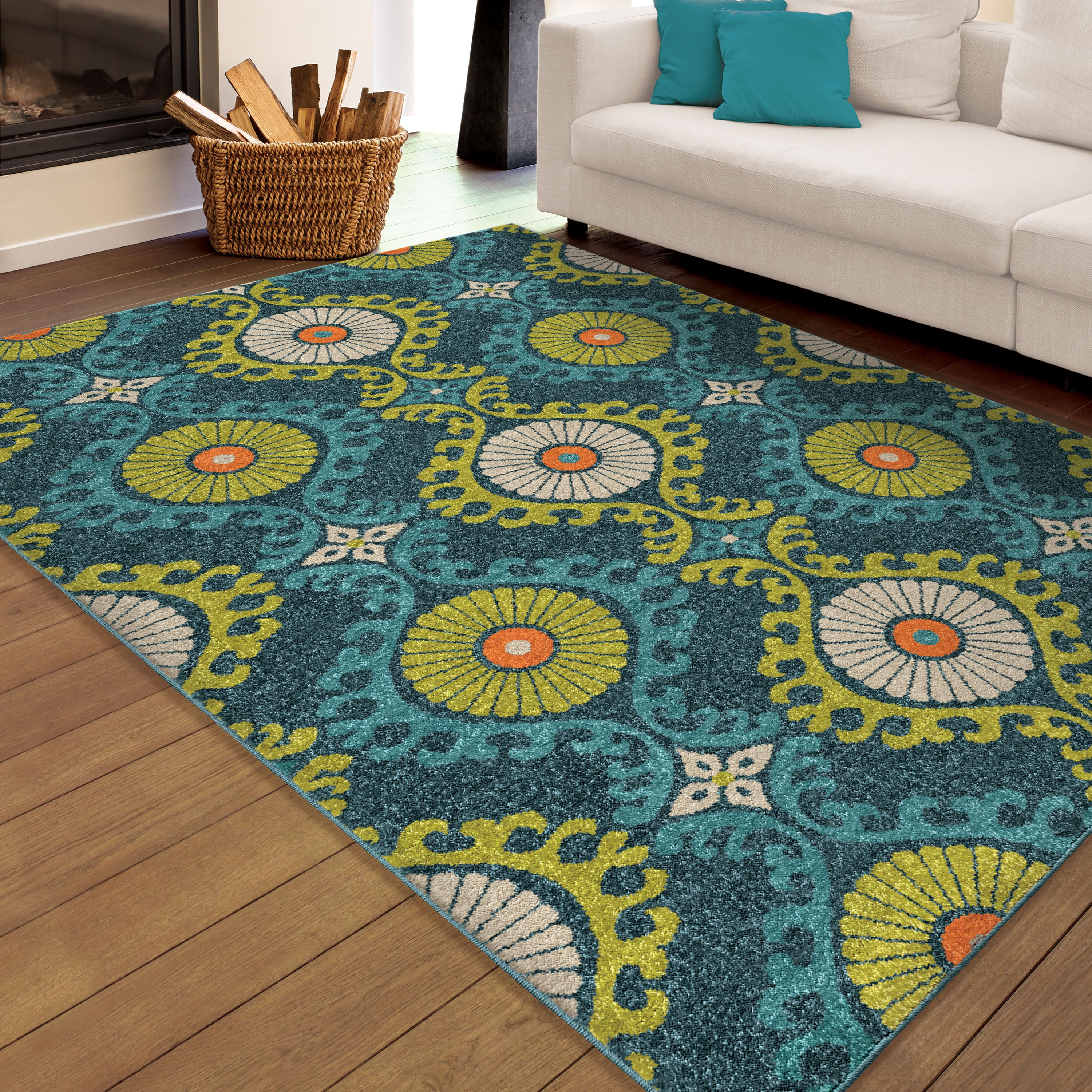 Floating Fl Blue Is Bringing Color And Design To Life It Has Dark Light Orange Lime Green Ivory Colors That Work Together Create A
