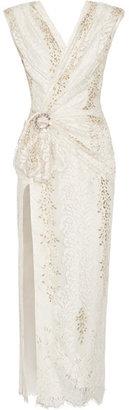 Alessandra Rich - Wrap-effect Crystal-embellished Metallic Lace Gown - Ecru - $2,800.00