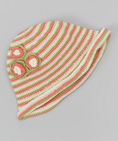 Another great find on #zulily! Peach Cobbler Stripe Flower Crocheted Sunhat #zulilyfinds