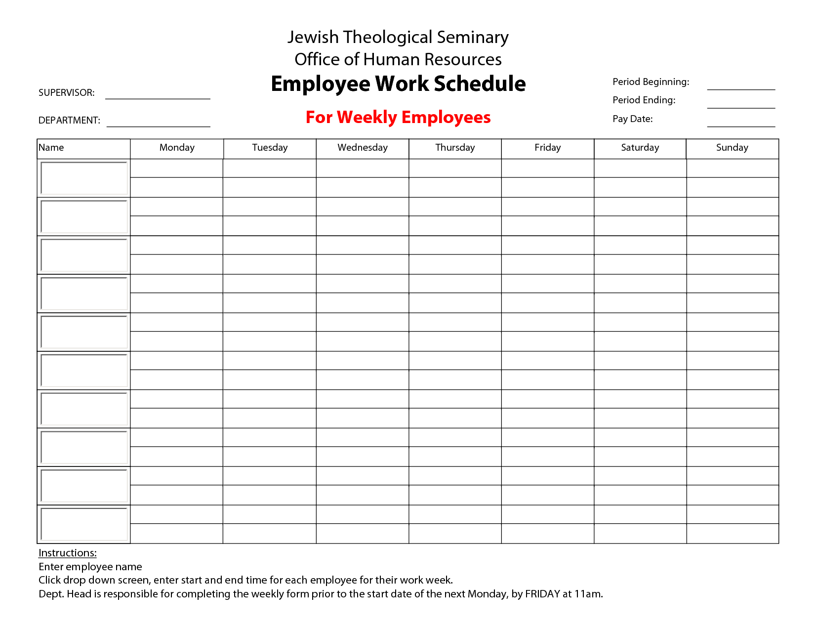 Hour Work Week Template  Employee Work Schedule For Weekly