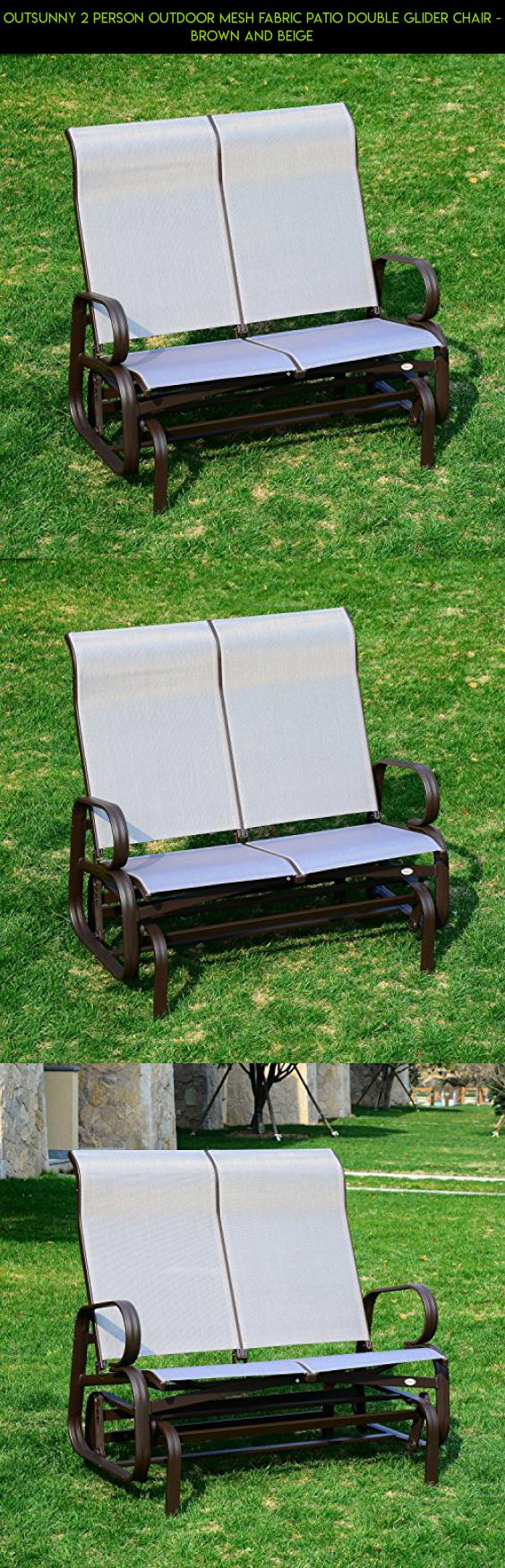 Outsunny 2 Person Outdoor Mesh Fabric Patio Double Glider Chair   Brown And  Beige #fpv