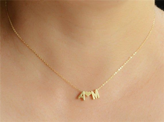 Gold tiny letter necklace-Initial with heart necklace-Couple love choker-Dainty gold necklace-Gift for her-Name necklace-Valentines day gift