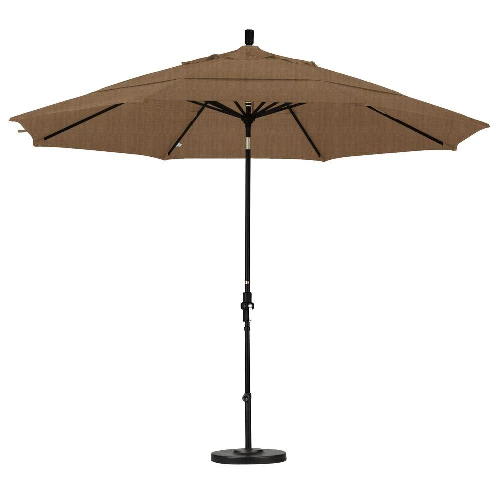 California Umbrella 11 Ft Aluminum Collar Tilt Double Vented Patio Umbrella In Sesame Olefin Patio Patio Umbrellas Market Umbrella