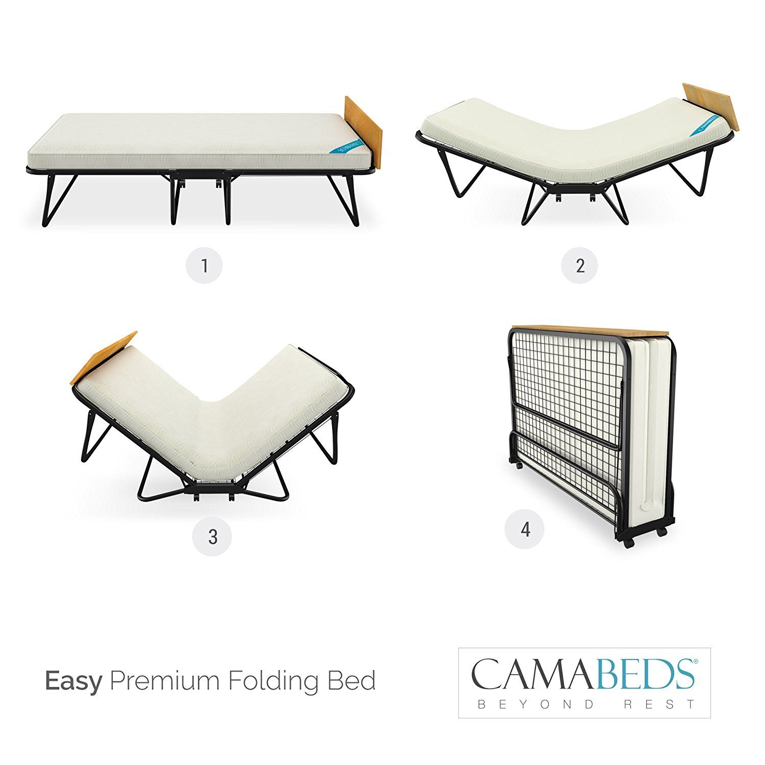 camabeds easy double size folding roll away bed with 3 5 mattress