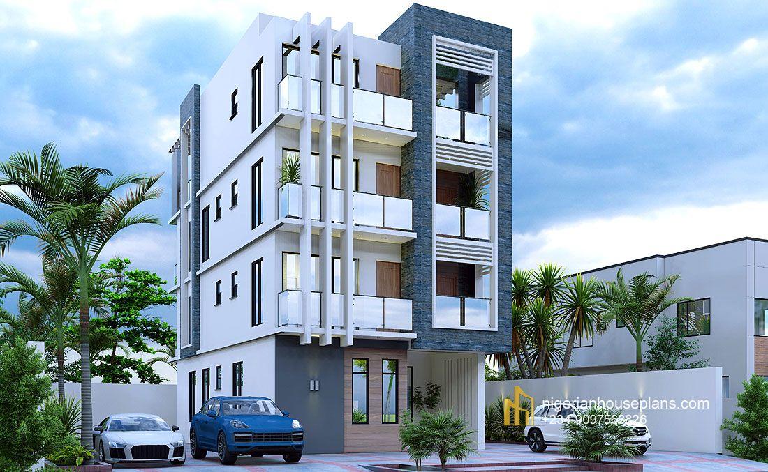 Apartment Building Ref Cs 8801 Nigerianhouseplans In 2021 Building Design Apartment Building Building