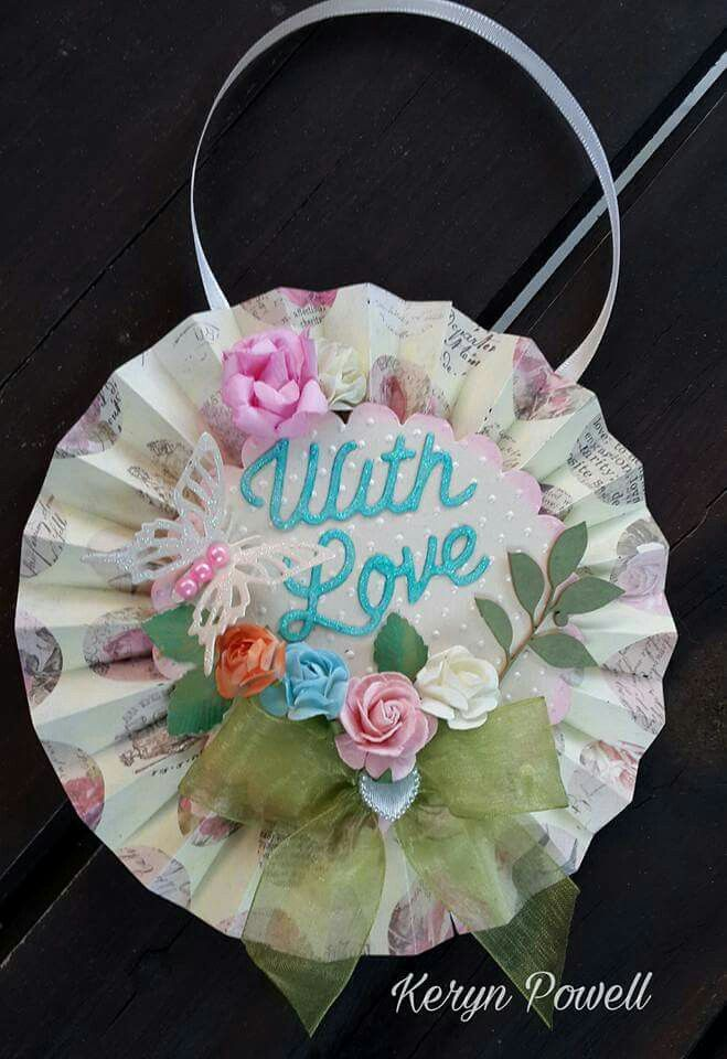 Rosette style hanging card by Keryn Powell