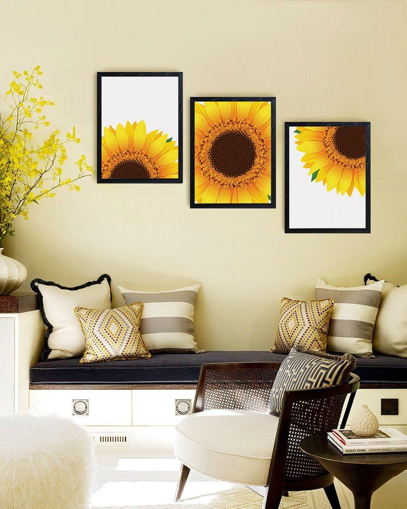 Sunflower Decor Sunflower Wall Art Yellow Wall Art Etsy
