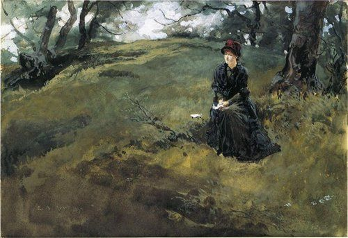 Young Woman in the Woods, Edwin Austin Abbey, 1879