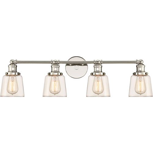Quoizel UNI8604PK Union Polished Nickel 32-Inch Four-Light Bath Light