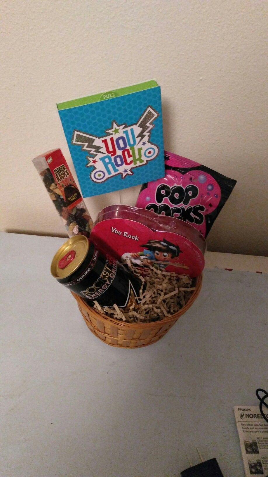 "you rock"" gift basket idea for a music lover/musician. you rock gift"