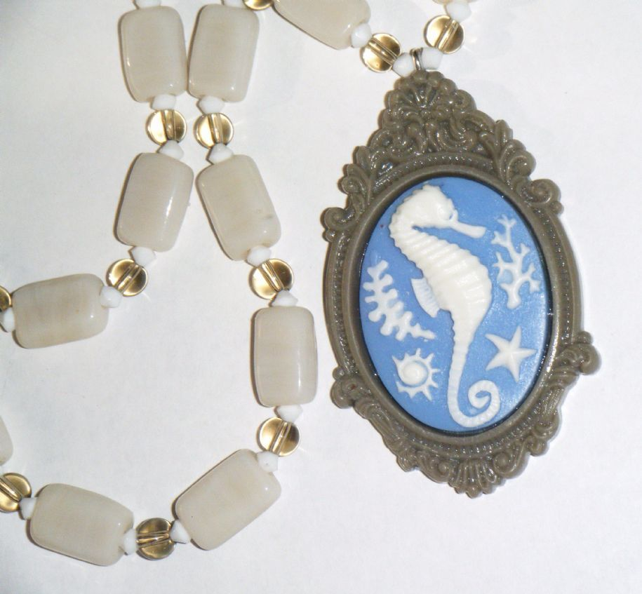 """Blue & stone seahorse cameo pendant on stone coloured glass bead necklace 18.1/2"""" long (47cm)"""