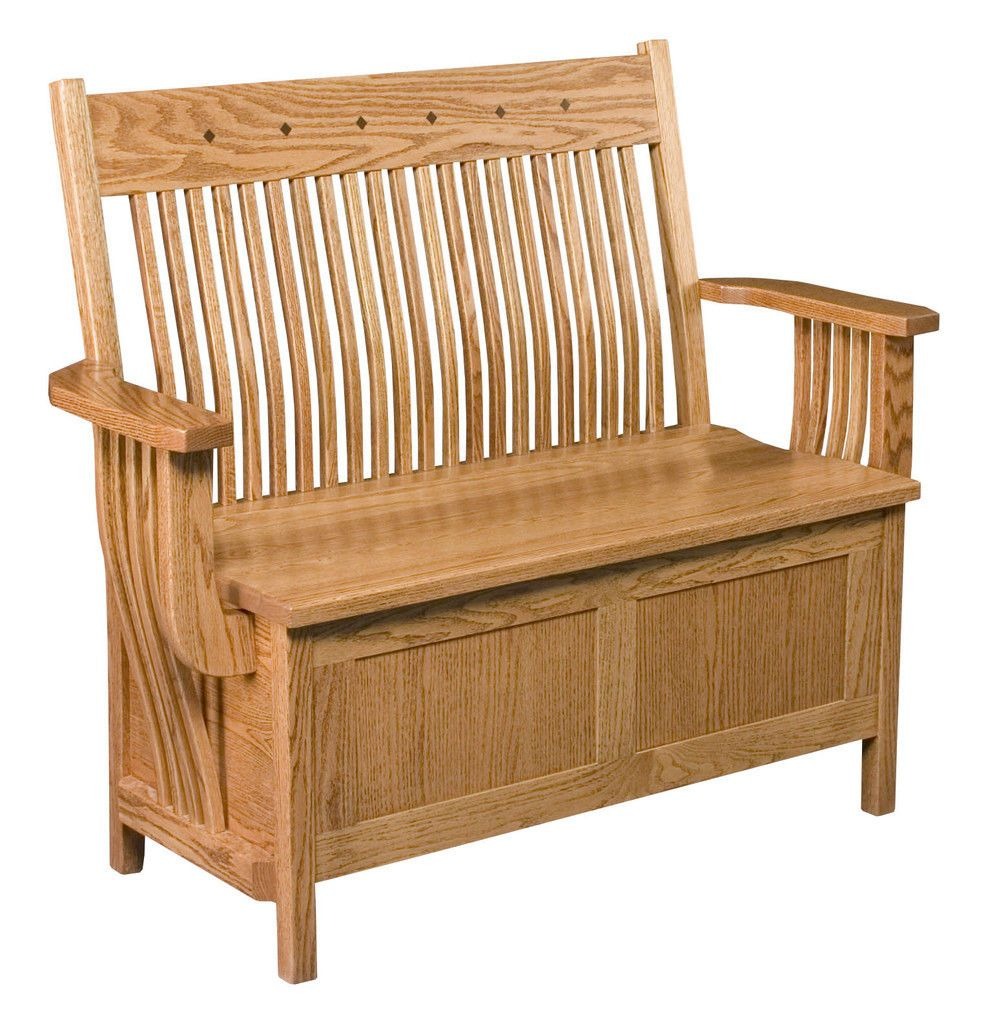 Wood Storage Bench Seat With Armrest U2026
